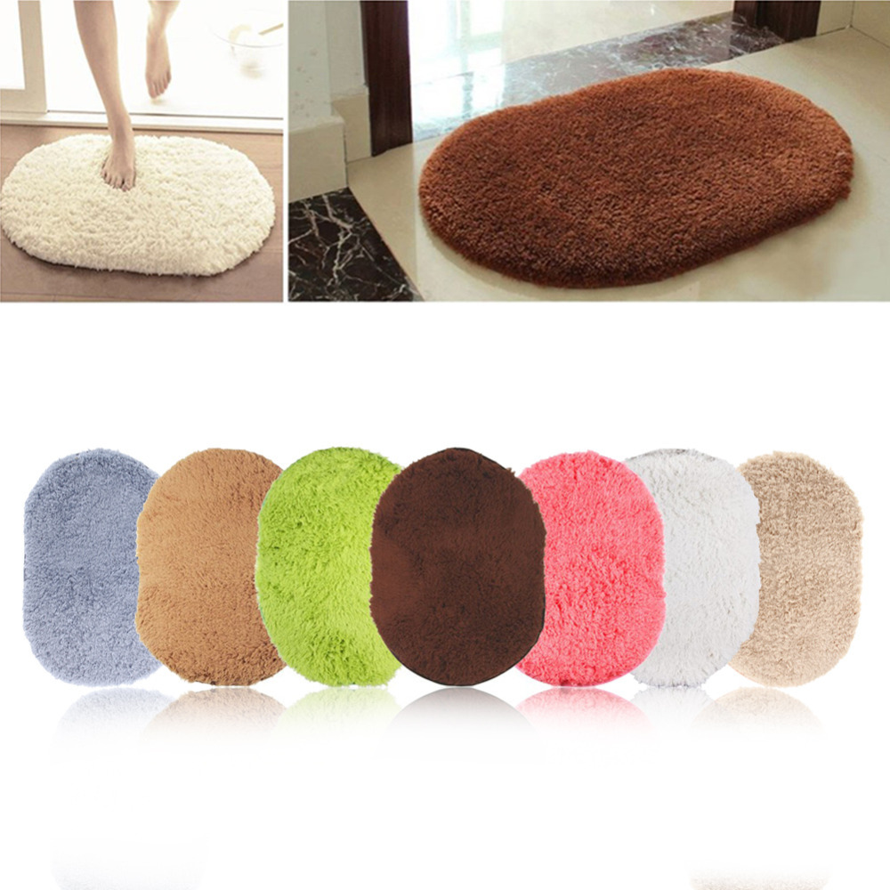 Oval bathroom rug - Super Magic Slip Resistant Pad Soft Room Oval Carpet Floor Tapis Salon Mats 40 60cm