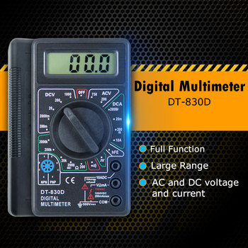 Mini Digital Multimeter Voltage Ampere Ohm Tester DT-830D with Buzzer Overload protection Safety Probe DC AC LCD Multimeters