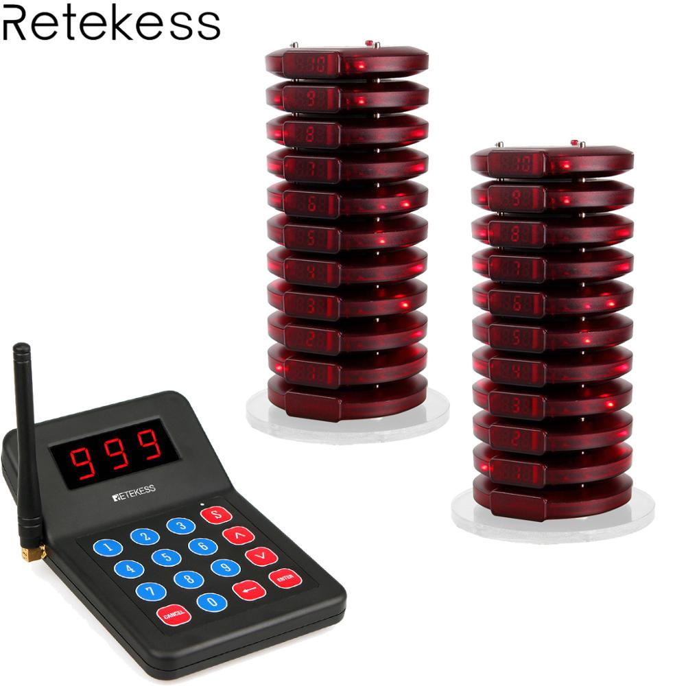 Retekess T119 Restaurant Pager Wireless Calling System 20 Coaster Pager 1 Transmitter Pager Call System Customer