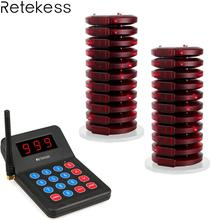 Retekess T119 Restaurant Pager Wireless Calling System 20 Coaster Pager+1 Transmitter Pager Call System Customer Service F9455A budweiser wireless pager restaurant restaurant table card cafe grill room service bell taiwan card pager