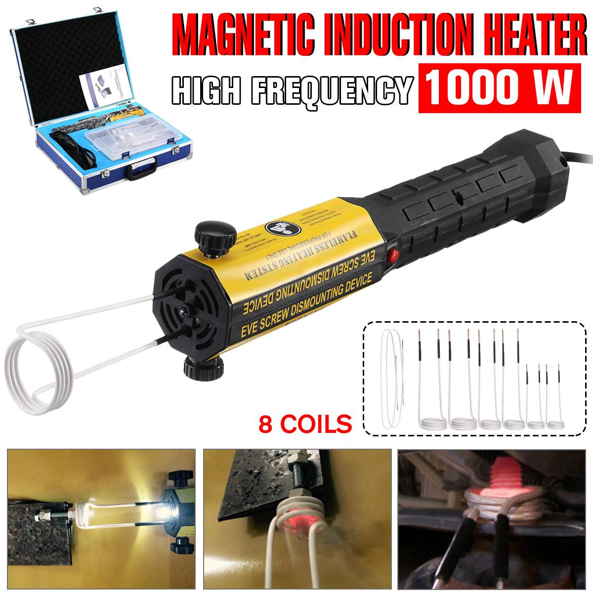 Induction Heater 110V/220V 8 Coils Bolt Heat Remover Tool Kit Flameless Magnetic Induction Heater Car Disassembly Repair Tool