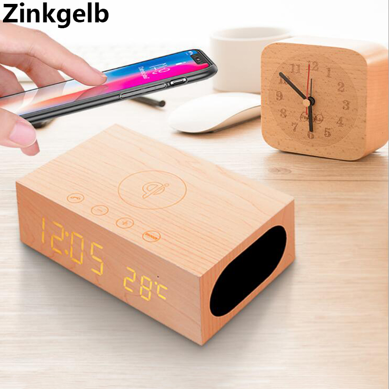 Wireless Phone Charger with Dual 5W Stereo Subwoofer Bluetooth 4.0 Wireless Speaker and Retro Digital Alarm Clock Support AUX