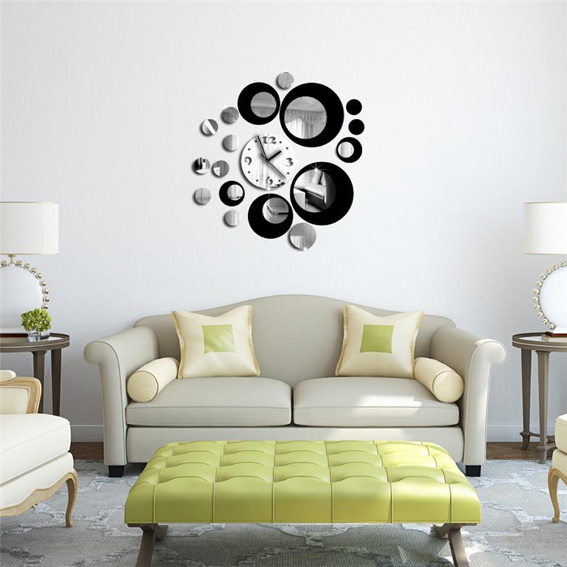 encantador del envo libre de la manera negro crculo alrededor d reloj de pared etiqueta