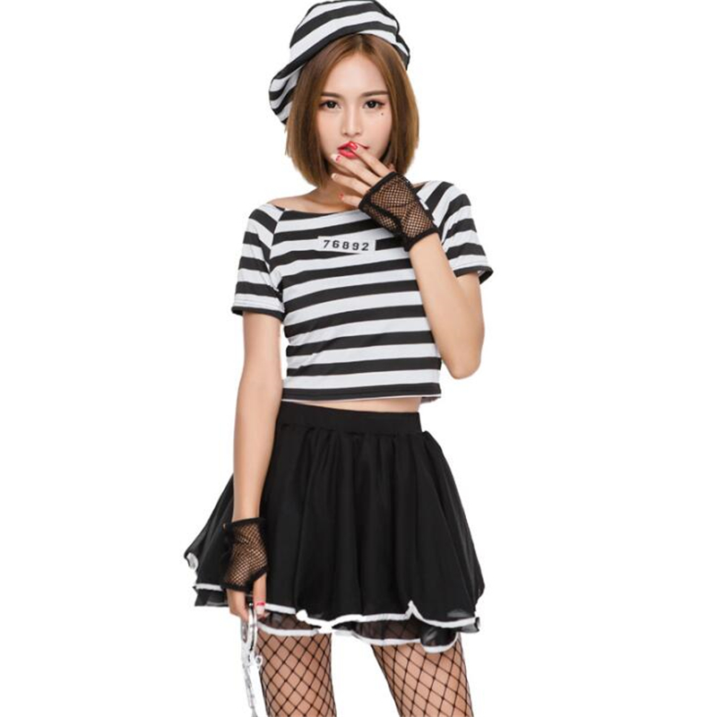 Hot Sale Womens Miss Prisoner Costume Halloween Carnival Adult Cosplay Clothing in Movie TV costumes from Novelty Special Use