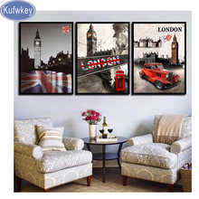 Kufwkey diamond painting full square,London England Flag And Building Nordic Diamond Embroidery,pictures mosaic diamond,art 3pcs(China)