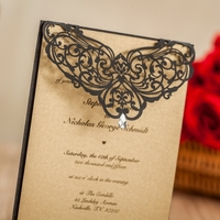 WISHMADE 50pcs Laser Cut Wedding Invitatons Kit with Rhinestone Black Birthday Cards Party Favors with Envelopes and Seals LA825