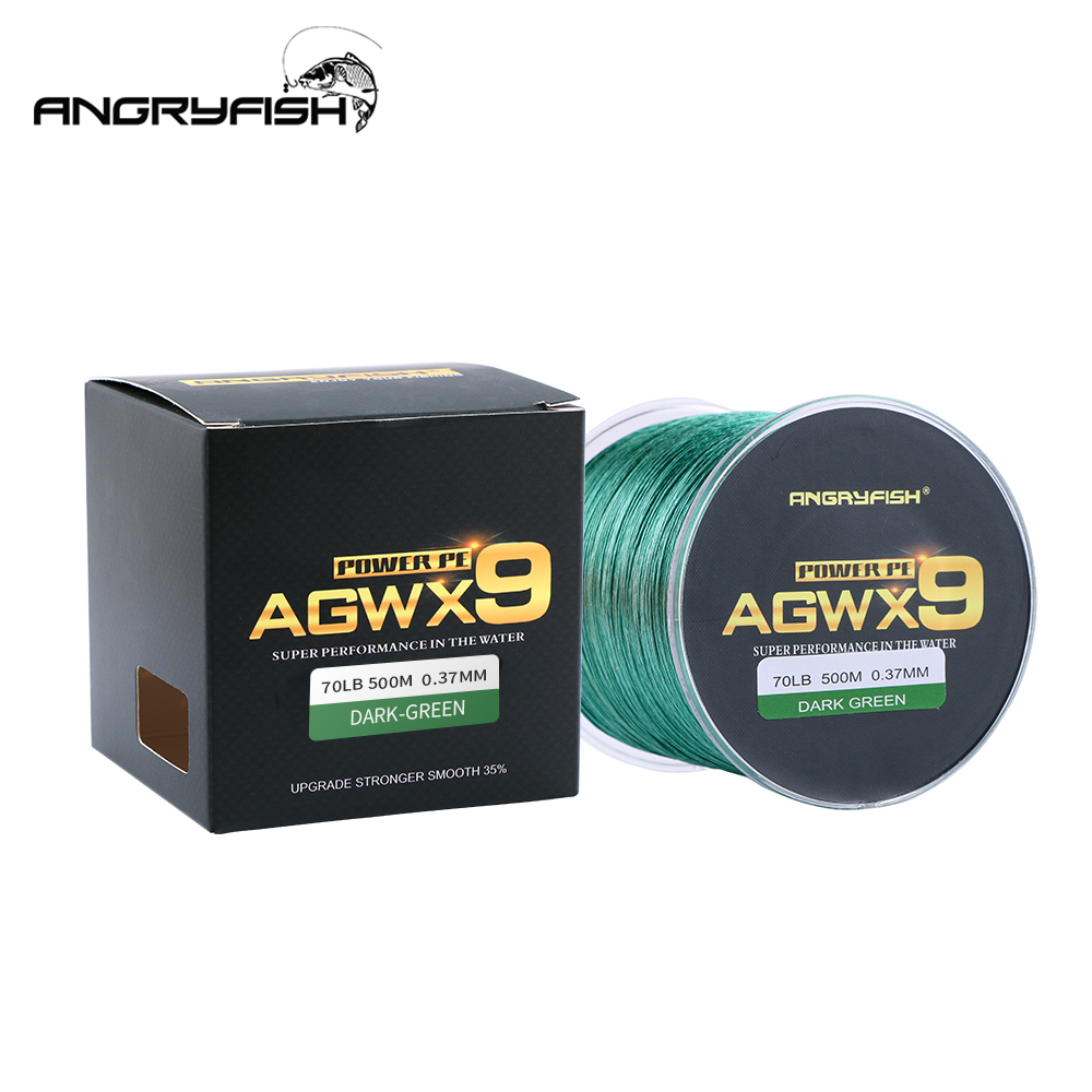 ANGRYFISH 9 Strands Weaves Braided 500M Fishing Line Super Strong PE Line 15LB 100LB-in Fishing Lines from Sports & Entertainment