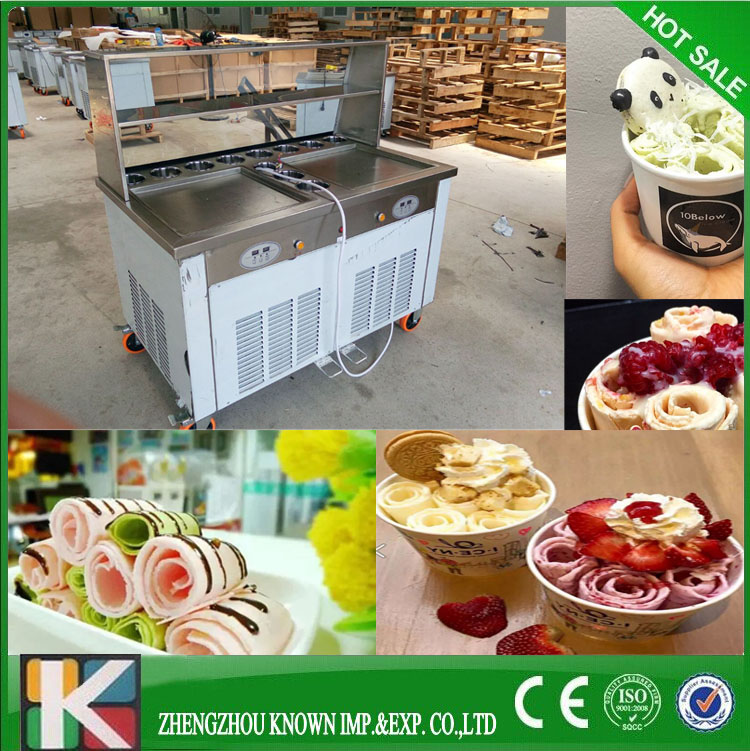 Factory Price Thailand Double Pan Rolled Fried Ice Cream MachineFactory Price Thailand Double Pan Rolled Fried Ice Cream Machine