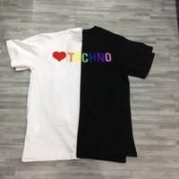 2019ss I Love TECHNO Embroidery Women Men T shirts tees Hiphop Streetwear Men Cotton Summer T shirt