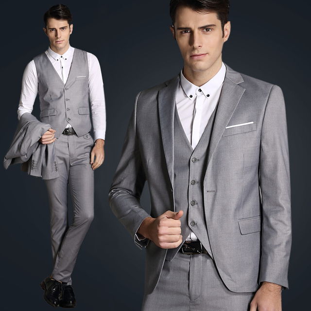 Italian Luxury Mens Grey Suits Jacket Pants Formal Dress Men Suit ...