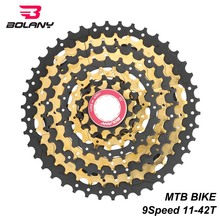 BOLANY Black gold 9 Speed Cassette Freewheel 1-42T MTB Mountain Bike Sprocket Bicycle Parts For Shimano Sram
