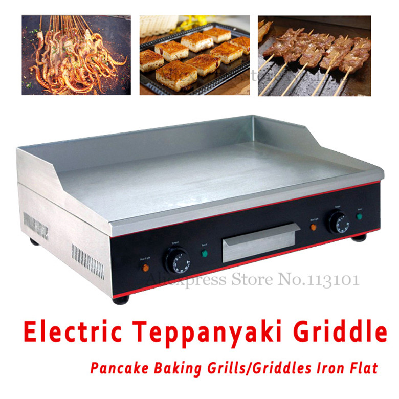 Electric Griddle Commercial Iron Flat Stainless Steel Teppanyaki Maker Iron Flat with Double Temperature Controllers electric iron ladomir 64k