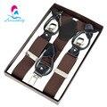 NBD9112 New Brown Dual-use 3 botão suspender clips masculinos calças de couro genuíno belt para noivo frete grátis