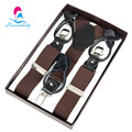NBD9112 New Brown Dual-use 3clips male button suspender genuine leather trousers belt for bridegroom free shipping