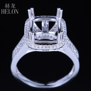 Image 4 - HELON Solid 14K White Gold 11X9MM Cushion/Emerald/Radiant Real Natural Diamonds Engagement Wedding Jewelry Semi Mount Ring