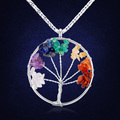 European And American Fashion Crystal Stone Necklace Tree Of Life Pendant Multilayer Necklace For Women Female Jewelry