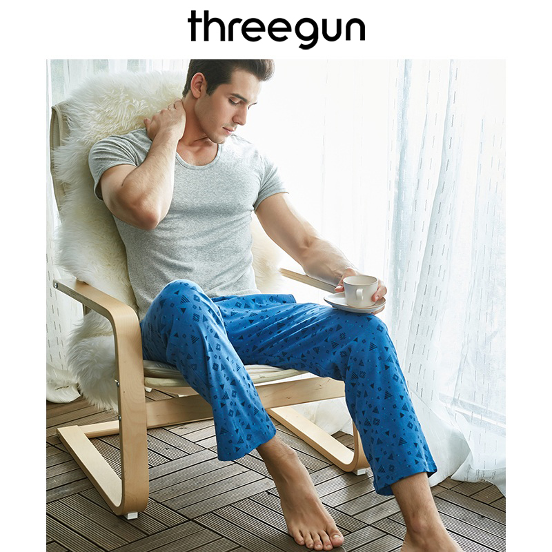THREEGUN 100 Cotton Mens Sleep Bottoms Simple Sleepwear Printed lounge pants sheer Pajamas Male Plus Size