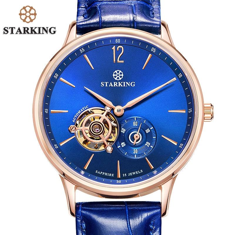 94513292b12 STARKING Nova Marca Men Mecânica relógios de Pulso Skeleton Tourbillon  Analógico Relógio Automático de Couro Genuíno Famosa Marca Azul Macho em  Relógios ...