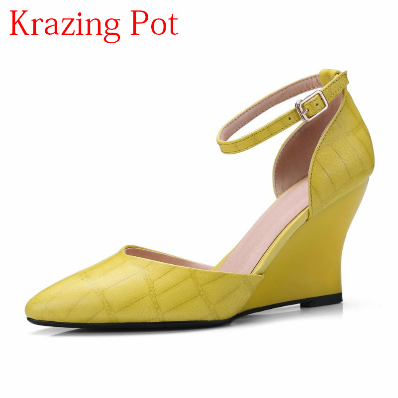 2018 Fashion Brand Shoes Shallow Sheep Skin Wedges High Heels Ankle Strap Women Pumps Pointed Toe0big Size Brand Sweet Shoes L03 new 2017 spring summer women shoes pointed toe high quality brand fashion womens flats ladies plus size 41 sweet flock t179