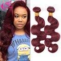 Burgundy Brazilian Body Wave 4Pcs Burgundy Brazilian Hair Weave Bundles Red Wine 99J Human Hair Brazilian Virgin Hair Body Wave