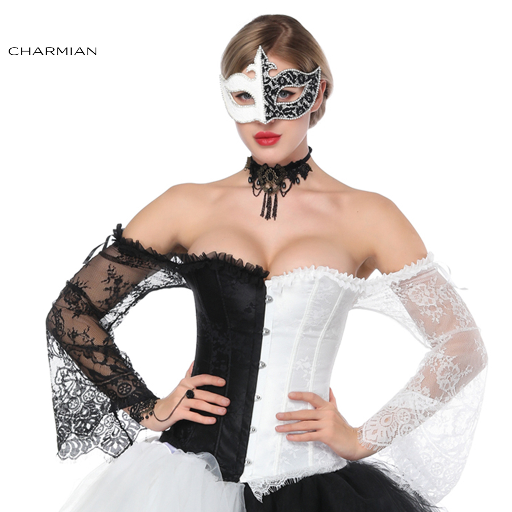 Charmian Women's Retro Steampunk Gothic Corset Sexy Black White Lace Off Shoulder Overbust Corsets and Bustiers Waist Trainer