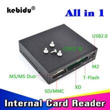 Kebidu lecteur de cartes internes portable USB 2.0, 3.5 pouces, panneau avant, lecteur de cartes Flash USB