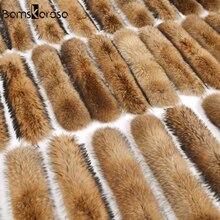 Натуральная куртка меховой воротник настоящий меховой шарф Женское зимнее пальто женская теплая шаль толстый енот меховой воротник-шарф