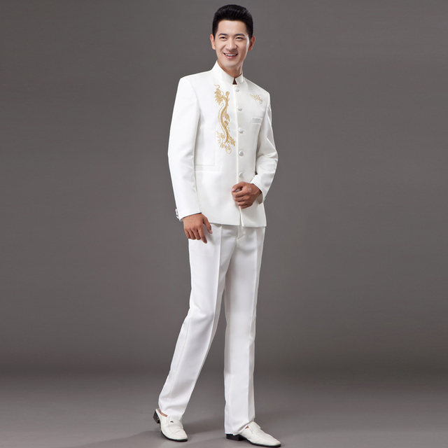 new Tunic Traditional Stand Collar Suits Costume Male Embroidery Chinese wedding dress Ancient Costume tunic costume homme