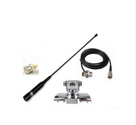Coche radio de doble banda whip antenna + soportes + RG58 cable + UHF conector adaptador