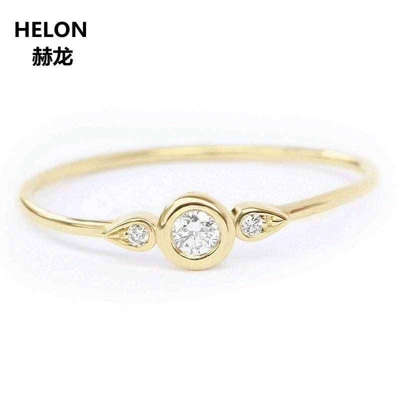 SI/H naturalnych diamentów Engagement Wedding Ring dla kobiet sprzedawane 14 k Yellow Gold Anniversary Party Fine Jewelry w Pierścionki od Biżuteria i akcesoria na  Grupa 1