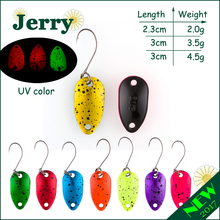 Jerry 1pc 2g 3.5g 4.5g fishing spoon lure mini two-side painting glossy color Japanese trout spoon