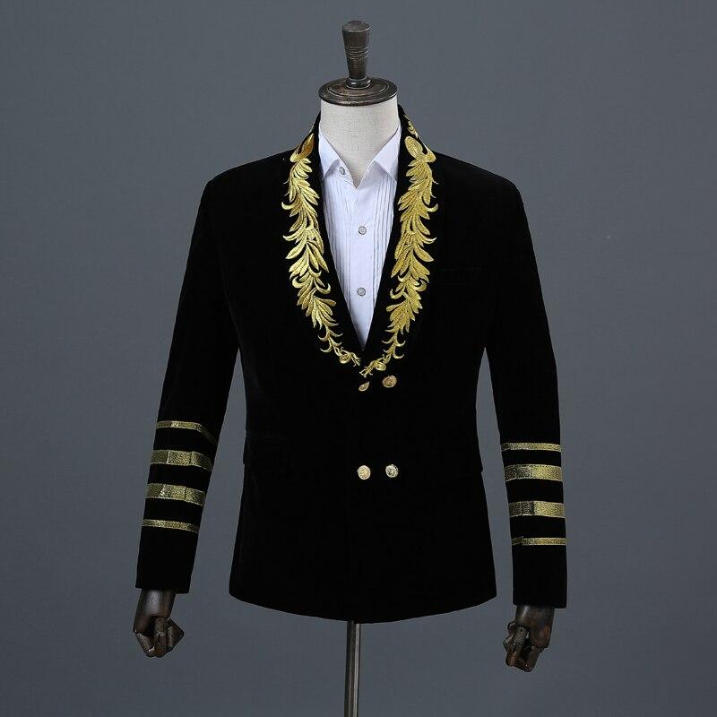 Mannen Sjaal Kraag Royal Blue Borduren Slim Fit Pak Show Zanger Double-breasted Wedding Party Mannen Blazer Jas