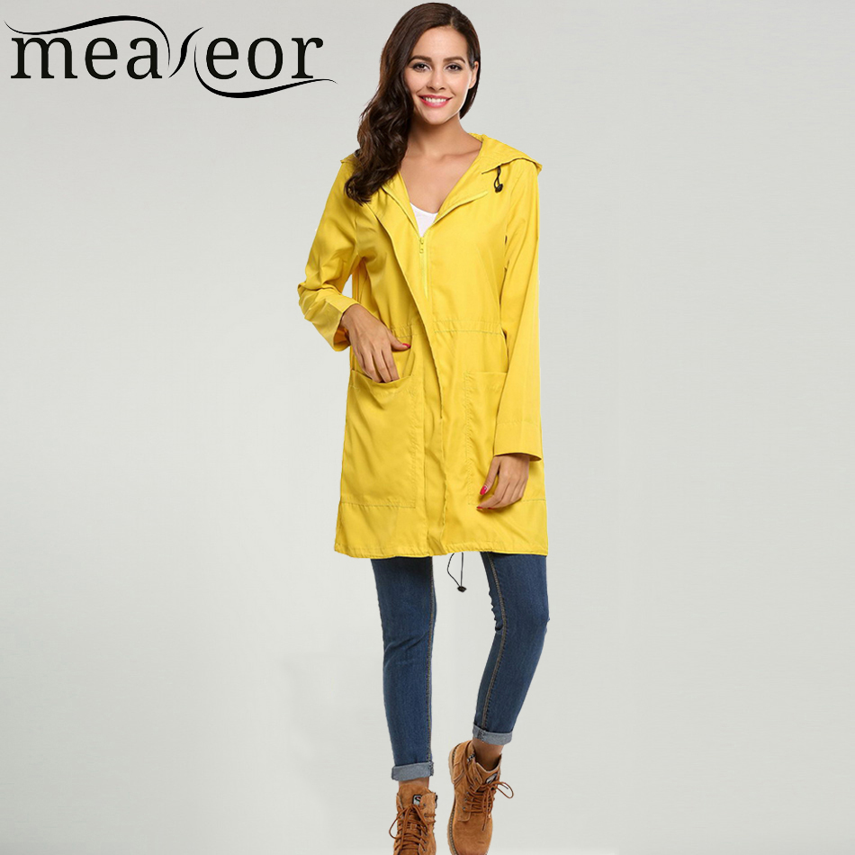 Meaneor Women Casual Hooded Long Sleeve Drawstring Hem Trench Coat Spring Autumn Back Split Hem Pockets Wind Breaker Winter Coat