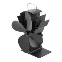 Durable 4 Blades Aluminum Black Heat Powered Stove Fan Fuel Saving Stove Fan Eco Friendly Wood