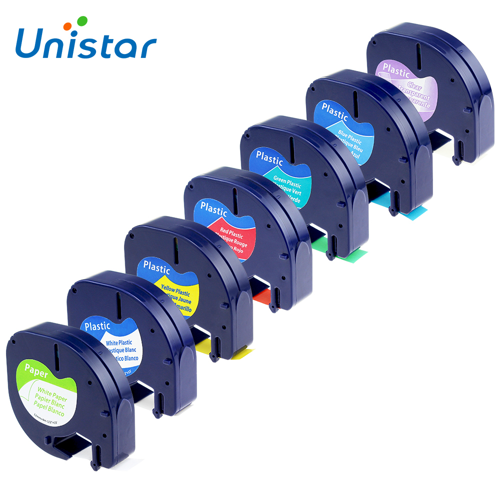 unisatr-7pcs-compatible-dymo-letratag-tape-12mm-91330-16952-91331-91332-91333-91334-91335-mixed-colors-tape-for-dymo-lt-printer