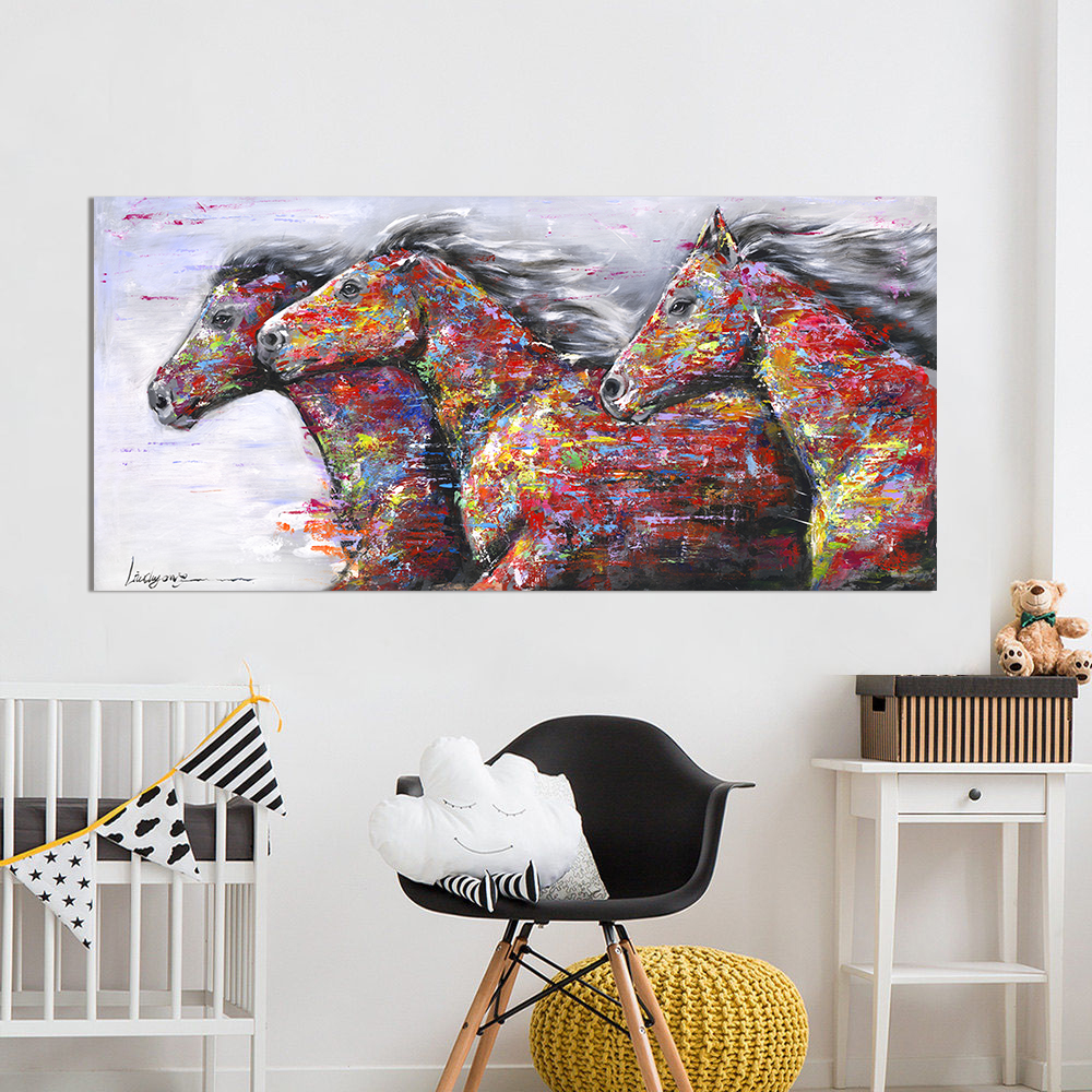 HDARTISAN Wall Art Picture Canvas Oil Painting Animal Print For Living Room Home Decor The Two Running Horse No Frame mandala animal print tapestry wall art