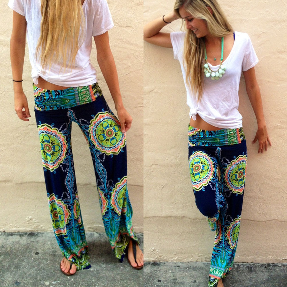 83659ac74f6ea Floral Casual Wide Leg Long Harem Pants High Waist Loose Elastic Waist  Palazzo Trousers Plus Size