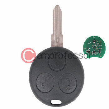 KEYECUNew Uncut Remote Key Fob 3 Button + Uncut Blade for Smart Fortwo Forfour City