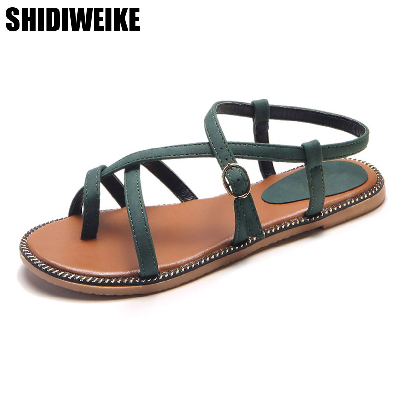 2019 summer Plus Size 35-40 Summer Sandals Women Flat with Shoes Female Simple Flat Flip Toe Buckle Strap Decoration Women Shoes2019 summer Plus Size 35-40 Summer Sandals Women Flat with Shoes Female Simple Flat Flip Toe Buckle Strap Decoration Women Shoes