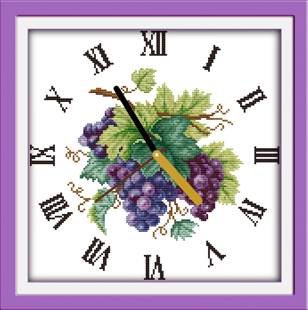 Craft clock faces - Purple Grape Clock Face Crafts Sewing Counted Cross Stitch Kits Dmc Printed Embroidery Diy Handmade Needle Work Wall Home Decor