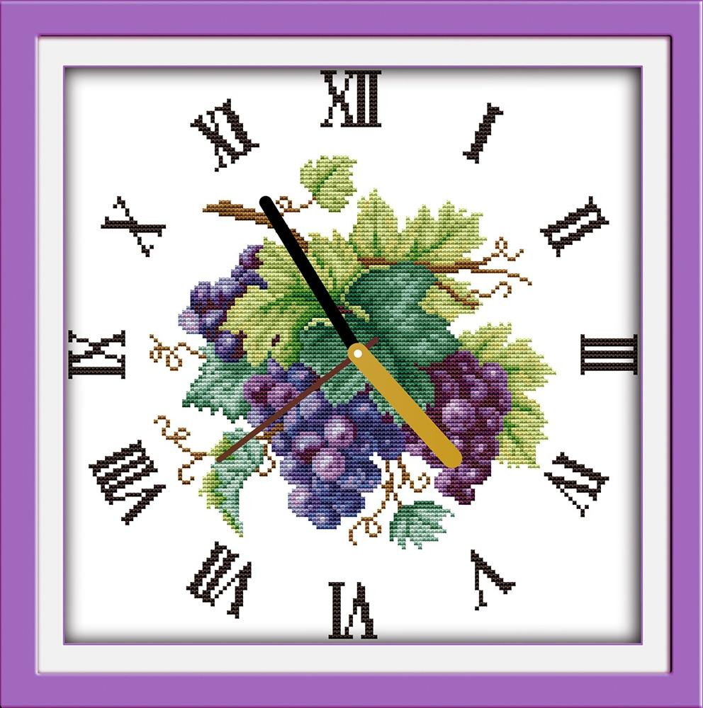 ᐃUva púrpura reloj Cara artesanía Costura contados cross stitch ...