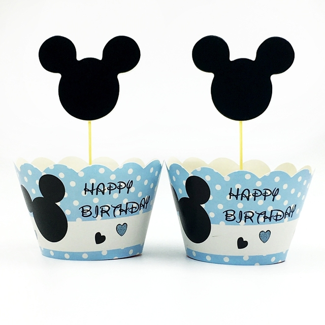 24pcs Pack Cupcake Wrappers Topper Mickey Mouse Happy Birthday Baby Shower Party Cake Decorations Paper Cup Packaging Supplies