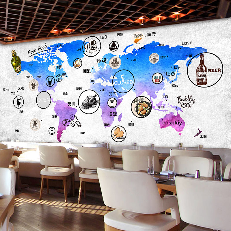 Custom Wall Mural World Map Mural Restaurant Tea House Coffee Shop Dining  Room Snack Shop Background Food Mark Wallpaper Mural In Wallpapers From  Home ... Part 92