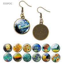 Bronze Van Gogh Dangle Earring Starry Night Painting Pendant Sunflower Tibet Glass Cabochon Long Lover Jewelry