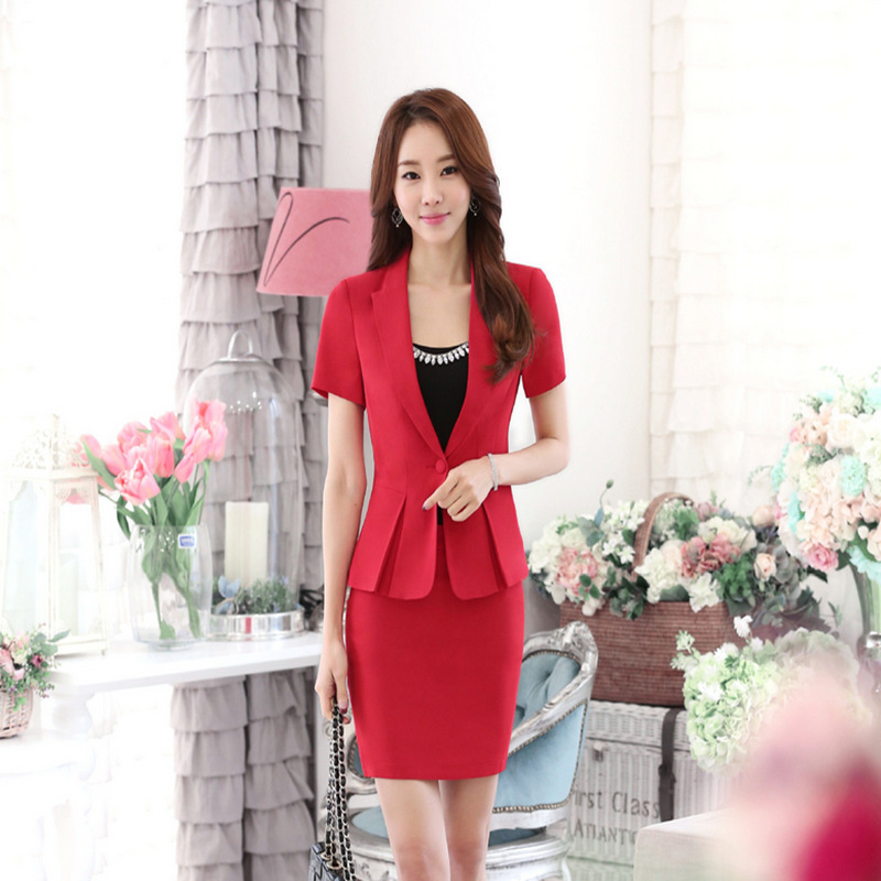 18bf0b59138 Womens Summer Short Sleeve Business Suits Office Uniform Designs Women  Elegant Skirt Suit Two Piece Set -in Skirt Suits from Women s Clothing    Accessories