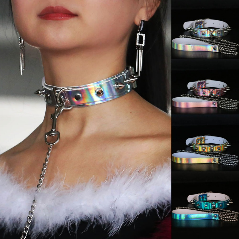 1 Set Sexy Rivet Metal Slave Holographic Laser BDSM Bondage Necklace Neckband Leather Collar Traction Rope Sex Toys For Couple tartan