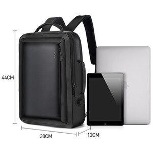 Image 5 - BOPAI Stylish Leather plecak for Men Fashion Mens Rucksack Backpack Solid Slim Men School Bags USB College School Backpack Black