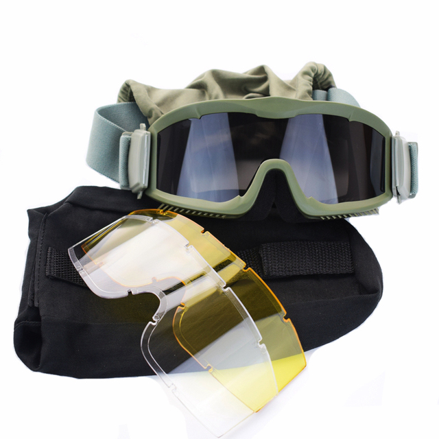 19d7d9315d4 3 Lens Military Airsoft Paintball Ballistic Goggles Army Shooting Tactical  Sunglasses Anti-fog UVA Eye Protection Glasses