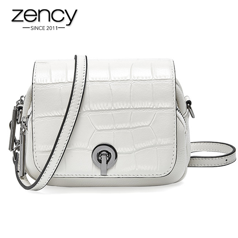 Zency Summer New Fashion Top Layer Cowhide Leather Women Shoulder Bag Crocodile Pattern Flip Small Round