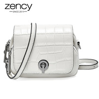 Zency Summer New Fashion Top Layer Cowhide Leather Women Shoulder Bag Crocodile Pattern Flip Small Round Messenger White Black